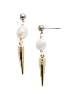 Sorrelli To The Point Pearl Post Earring in Bright Gold