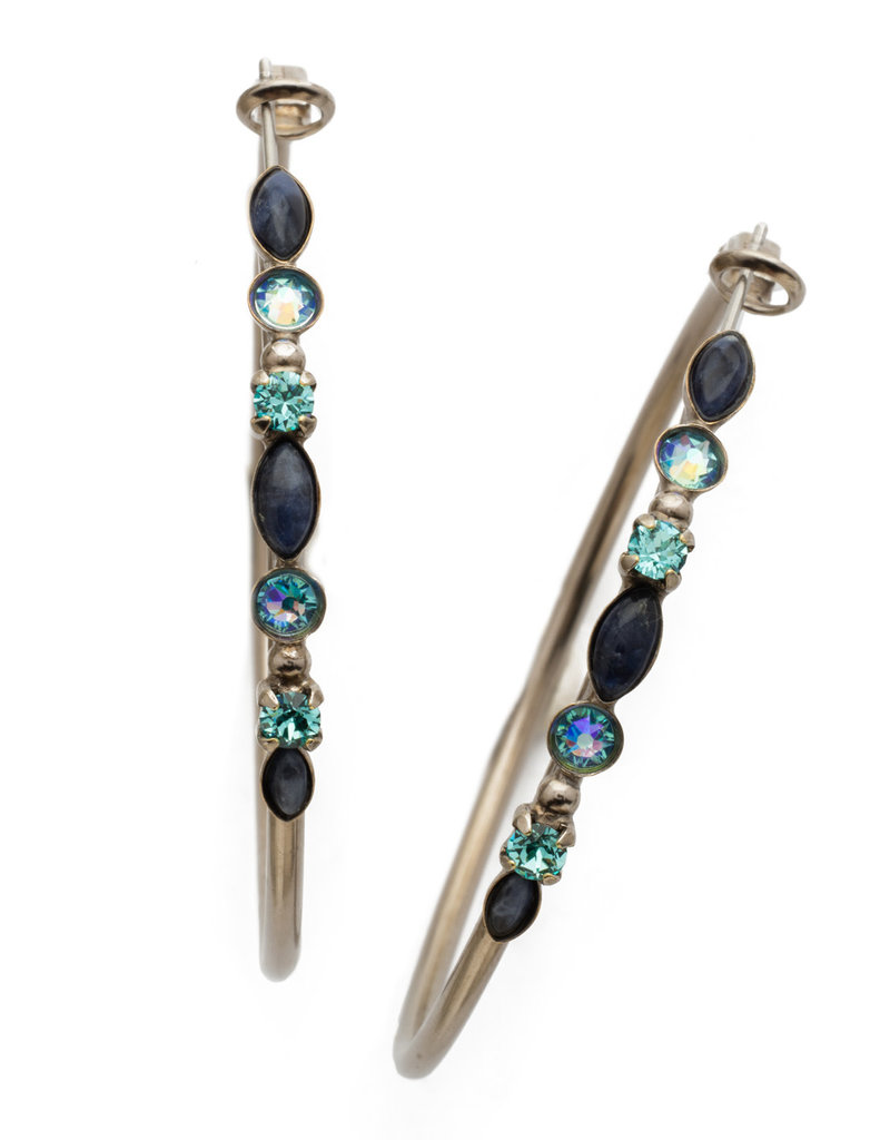Sorrelli Blue Suede Large Mixed Media Hoop Earring