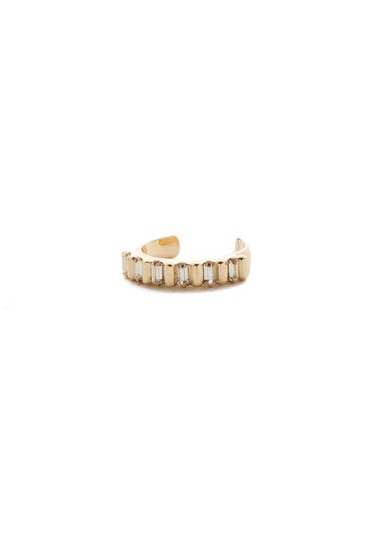 Sorrelli Street Tread Crystal Band Ring in Bright Gold