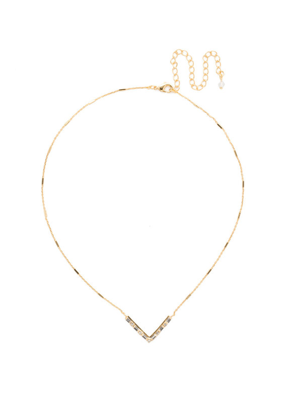 Sorrelli Crystal Chevron Necklace in Bright Gold
