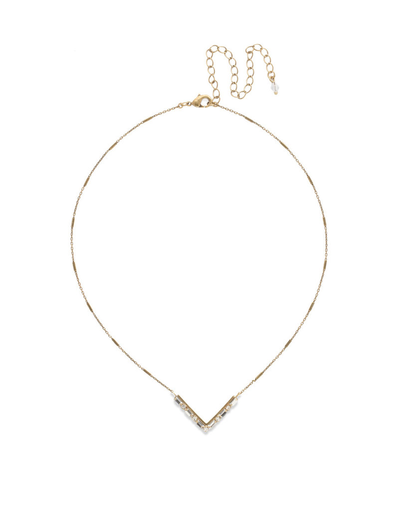 Sorrelli Crystal Chevron Necklace in Antique Gold