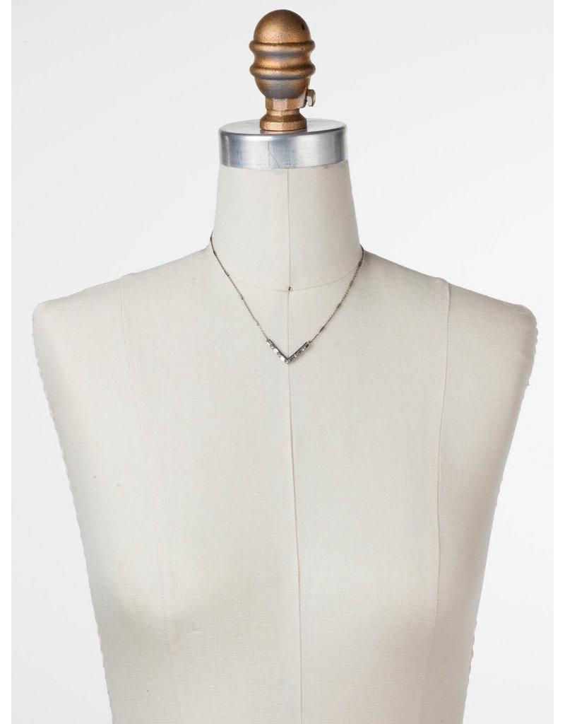 Sorrelli Crystal Chevron Necklace in Antique Silver