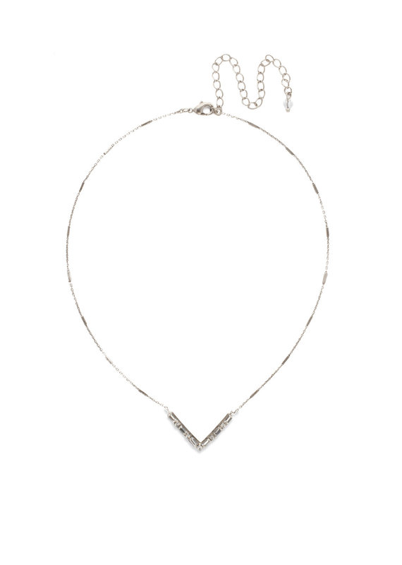 Sorrelli Crystal Chevron Necklace in Antique Silver