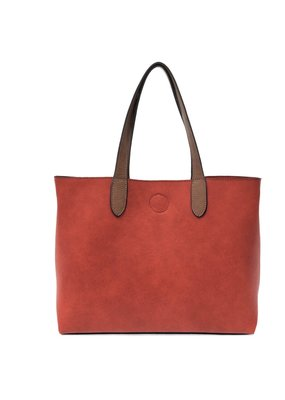 Joy Susan Red & Coffee Mariah Medium Convertible Tote