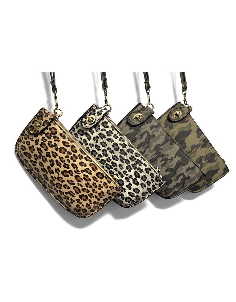 Joy Susan Natural Leopard Crossbody Wristlet Clutch