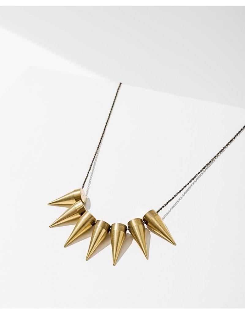 Larissa Loden Brass 7 Spike Necklace