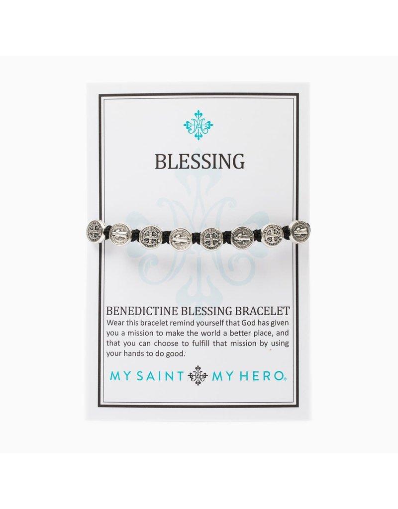 My Saint My Hero Black & Silver Benedictine Blessing Bracelet