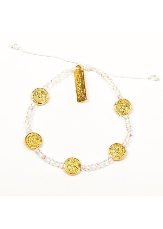 My Saint My Hero Gold & Crystal Gratitude Crystal Bracelet