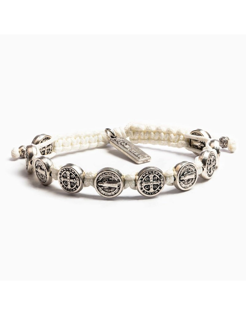 My Saint My Hero White & Silver Benedictine Blessing Bracelet