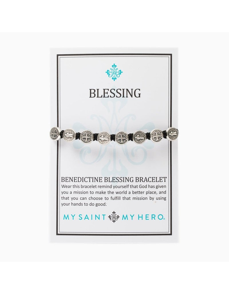 My Saint My Hero Slate & Silver Benedictine Blessing Bracelet