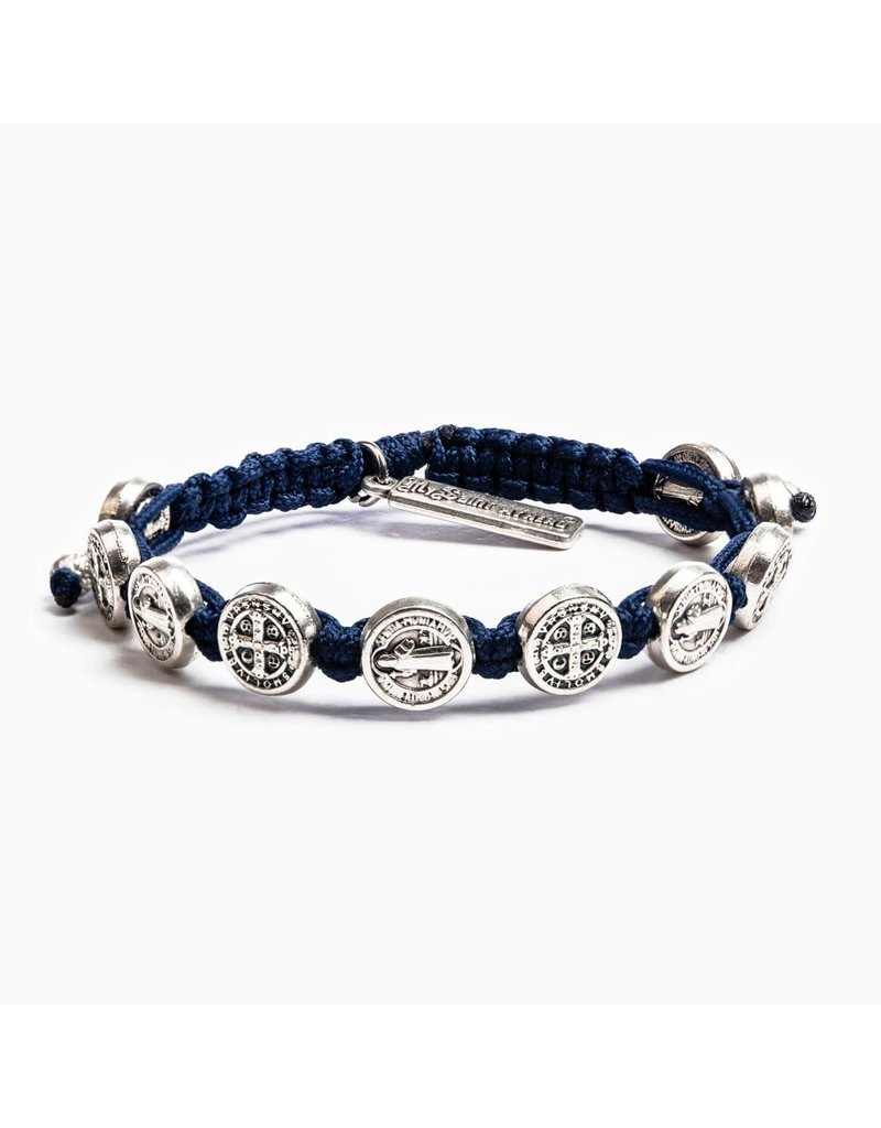 My Saint My Hero Navy & Silver Benedictine Blessing Bracelet