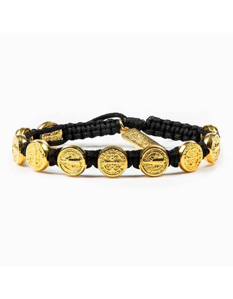 My Saint My Hero Black & Gold Benedictine Blessing Bracelet