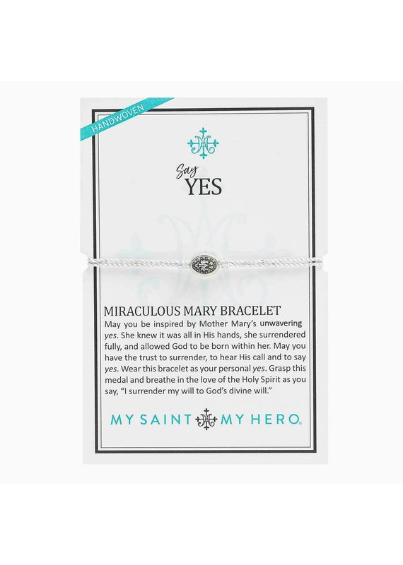 My Saint My Hero Metallic Silver Say Yes Miraculous Mary Bracelet
