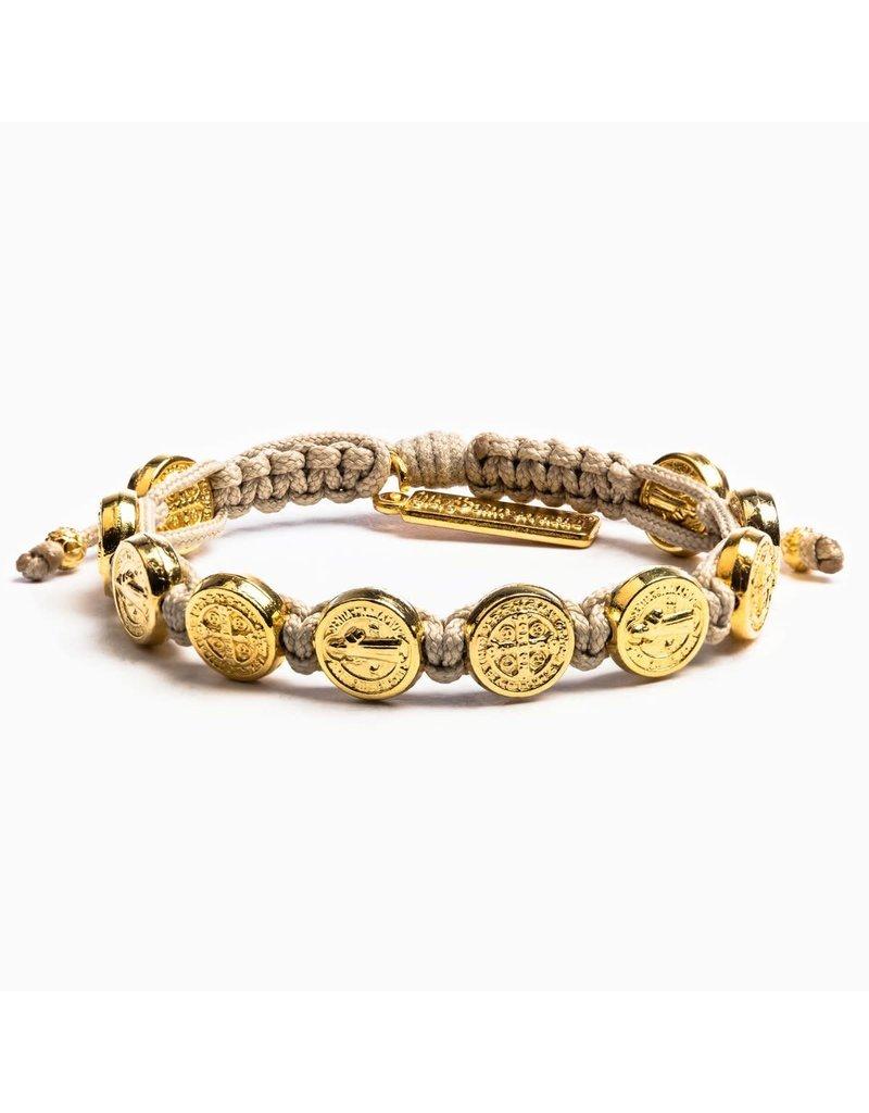 My Saint My Hero Tan & Gold Benedictine Blessing Bracelet