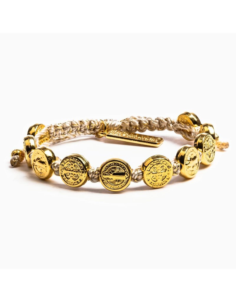 My Saint My Hero Metallic Gold Benedictine Blessing Bracelet