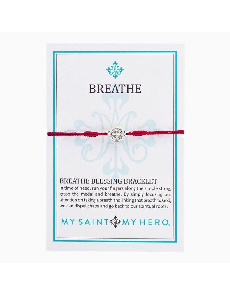 My Saint My Hero Merlot & Silver Breathe Blessing Bracelet