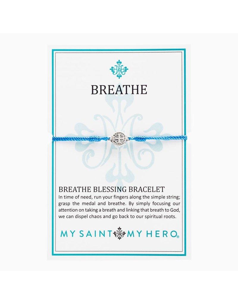 My Saint My Hero Blue & Silver Breathe Blessing Bracelet