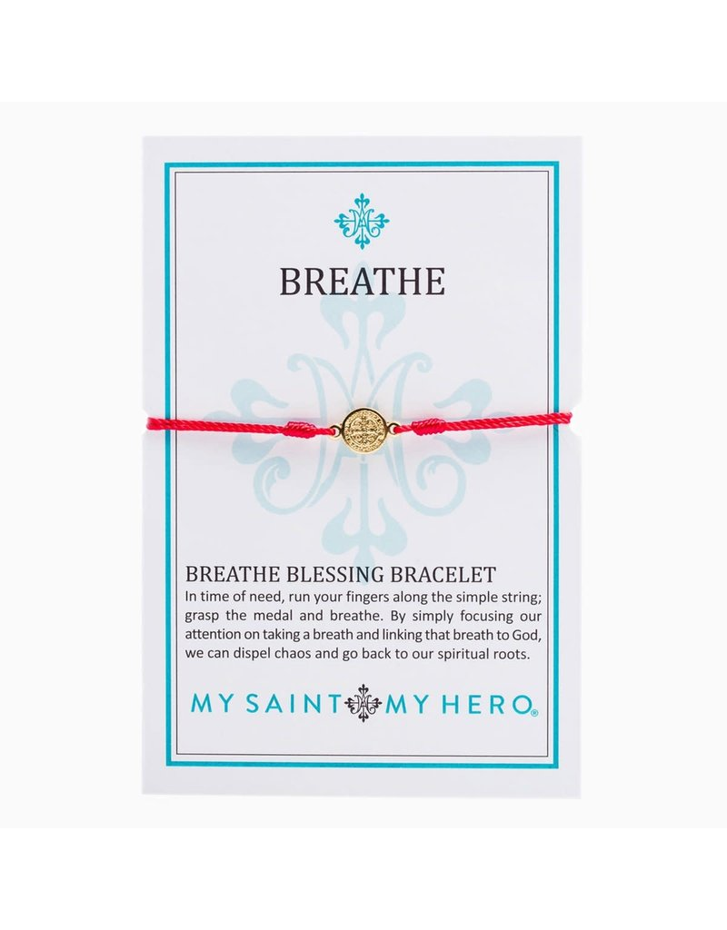 My Saint My Hero Red & Gold Breathe Blessing Bracelet