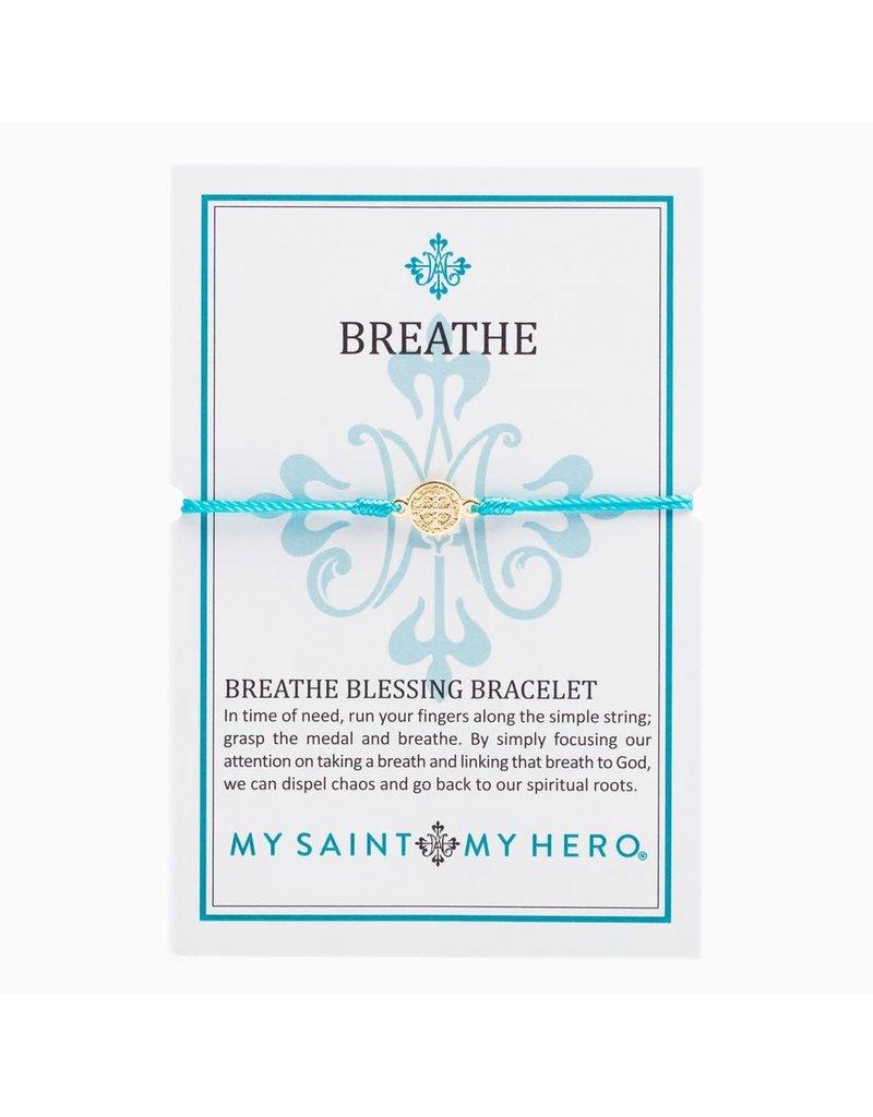 My Saint My Hero Turquoise & Gold Breathe Blessing Bracelet