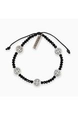 My Saint My Hero Silver & Black Gratitude Crystal Bracelet