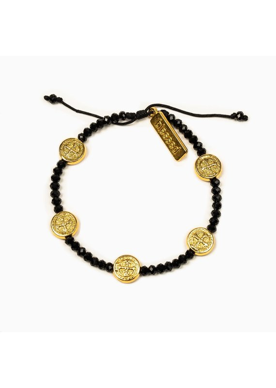 My Saint My Hero Gold & Black Gratitude Crystal Bracelet