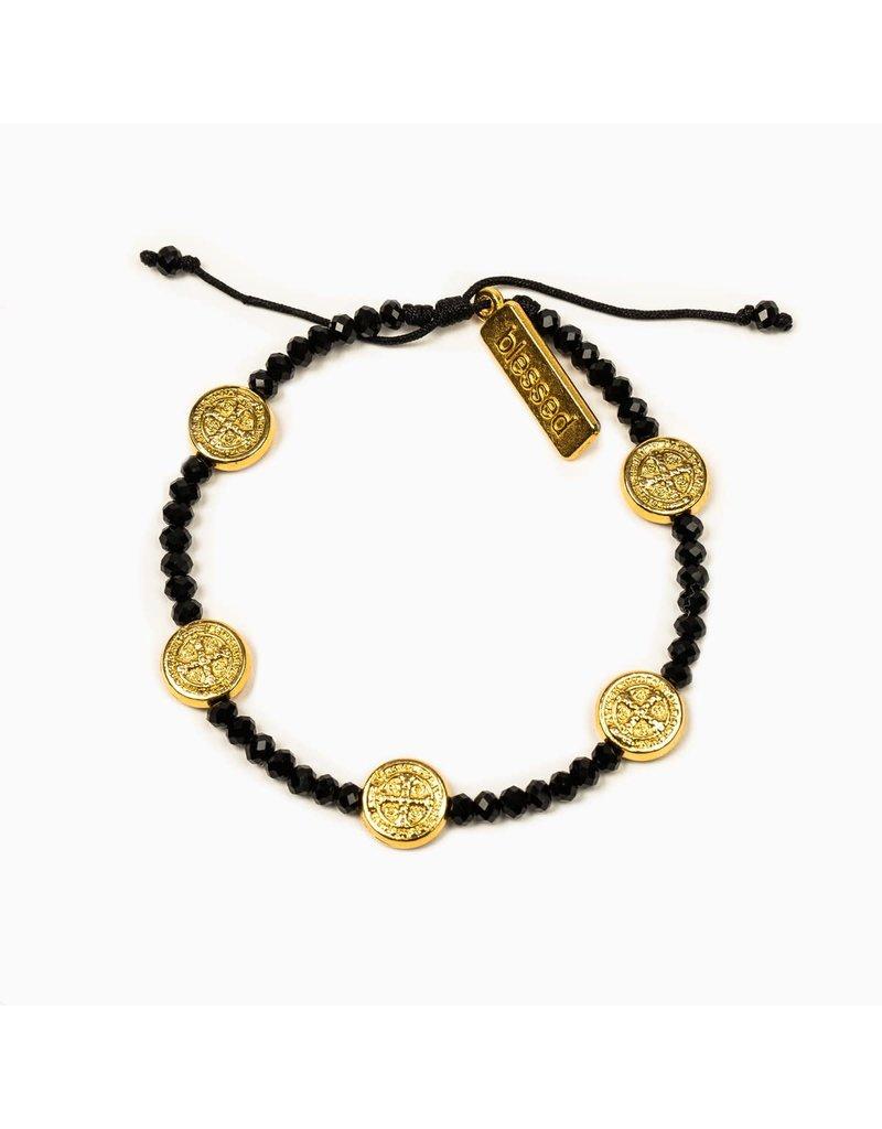 My Saint My Hero Gold & Black Gratitude Crystal Bracelet