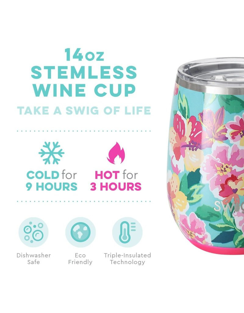 Swig Life Island Bloom Stemless Wine Cup 14oz