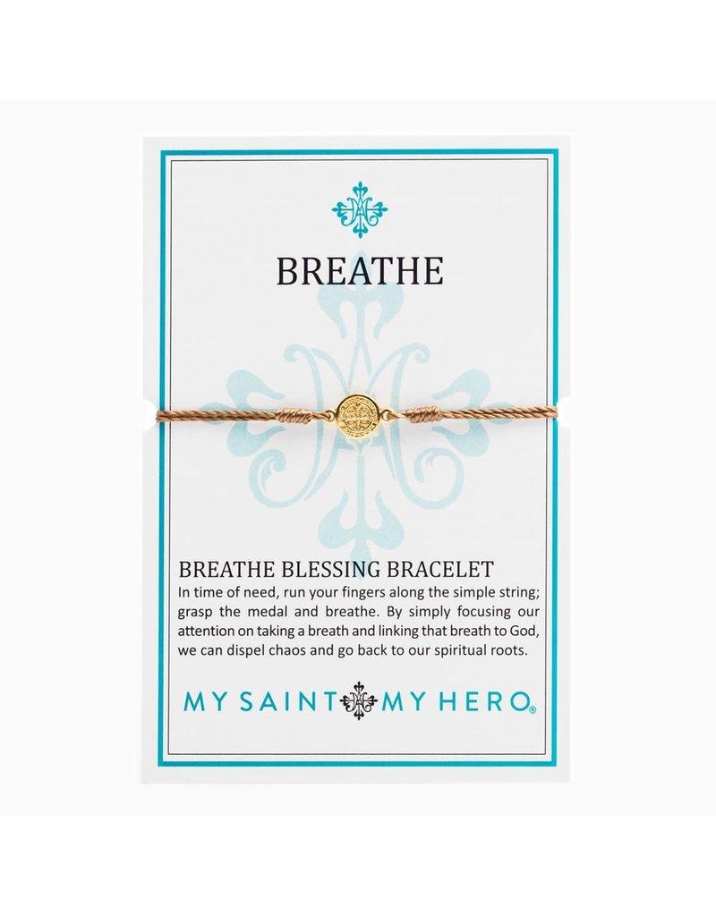 My Saint My Hero Taupe & Gold Breathe Blessing Bracelet