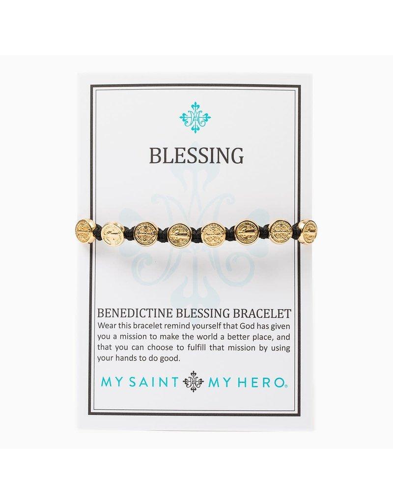 My Saint My Hero Metallic Gold Benedictine Blessing Bracelet