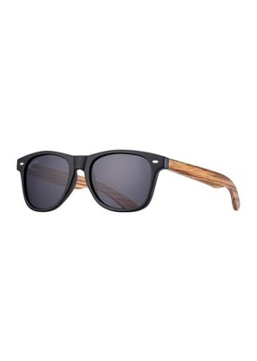 Blue Planet Bodie Matte Onyx & Zebra Wood w Smoke Polarized Lens
