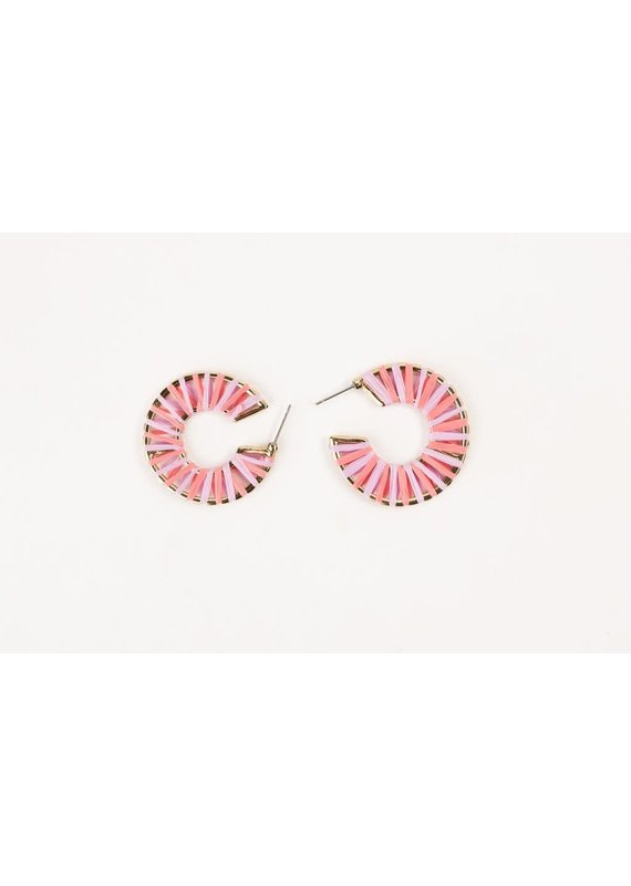 """Violet & Brooks Siena Petite 1.25"""" Straw Pink Hoops"""