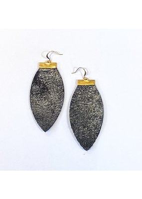 Cecelia Rustic Shimmer Bar Leather Earrings