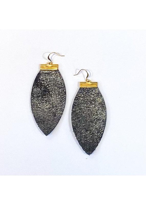 Cecelia Rustic Shimmer Bar Leather Earrings