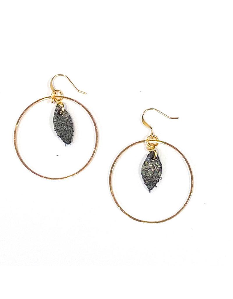 Cecelia Black Sugar Mini Feather Hoop Earrings