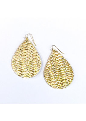 Cecelia Large Gold Braided Leather Teardrop Earrings
