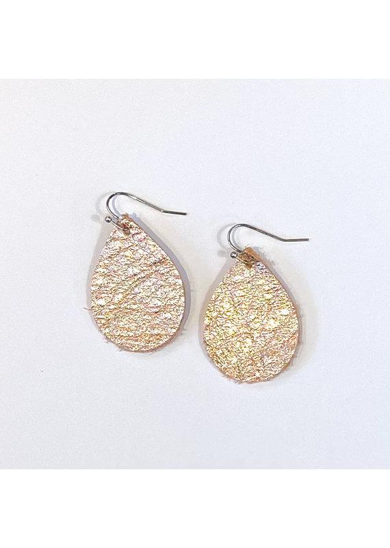 Cecelia Cutie Rose Gold Teardrop Leather Earrings