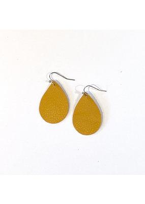 Cecelia Small Mustard Teardrop Leather Earrings