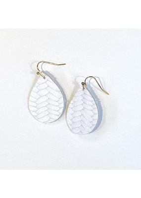 Cecelia Cutie White Braided Teardrop Leather Earrings