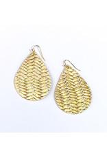 Cecelia Large Gold Braided Leather Teardrop Earrings