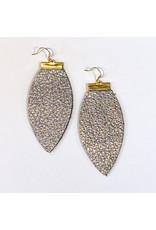 Cecelia Hematite Bar Leather Earrings