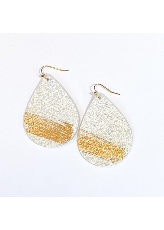 Cecelia Silver Splash Painted Leather Earrings