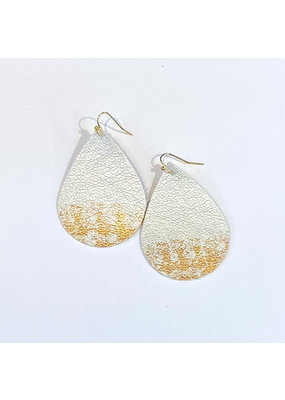 Cecelia Silver Sparkle Painted Leather Earrings