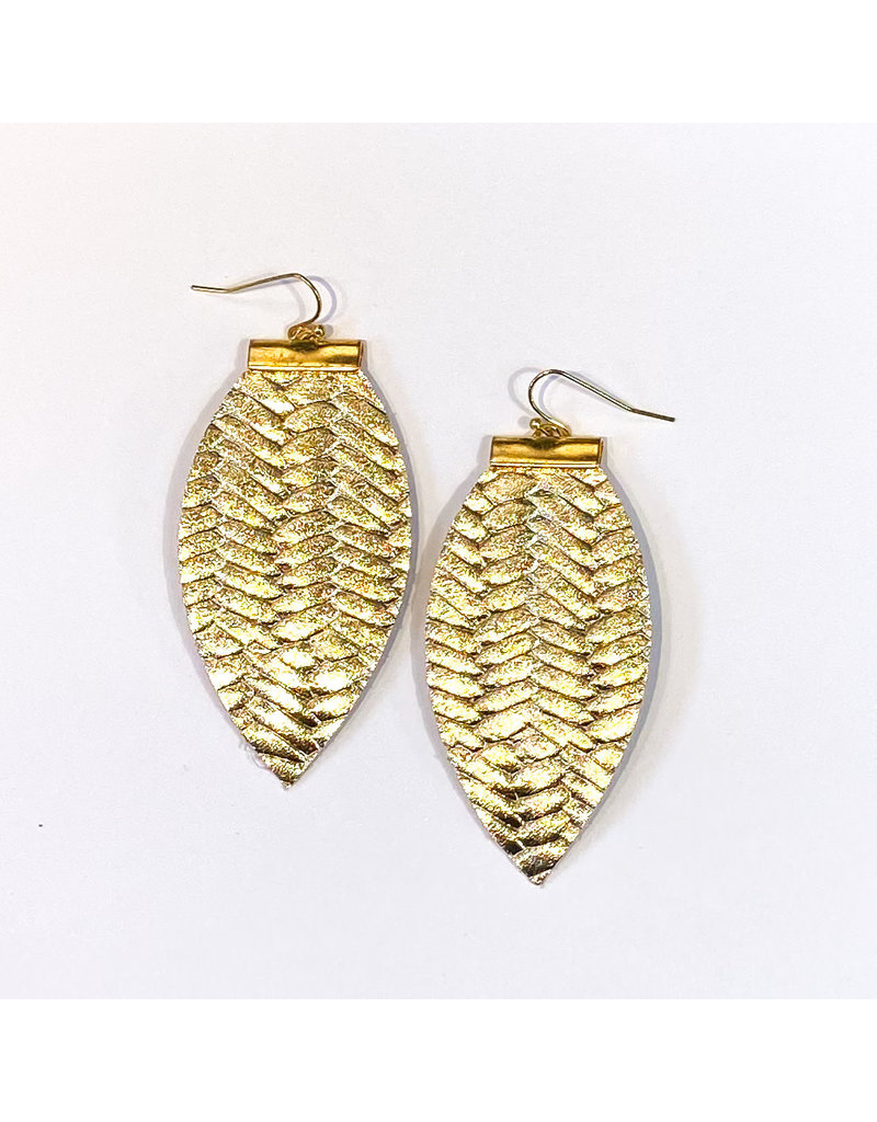 Cecelia Gold Braided Bar Leather Earrings