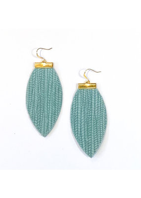 Cecelia Seafoam Embossed Bar Leather Earrings