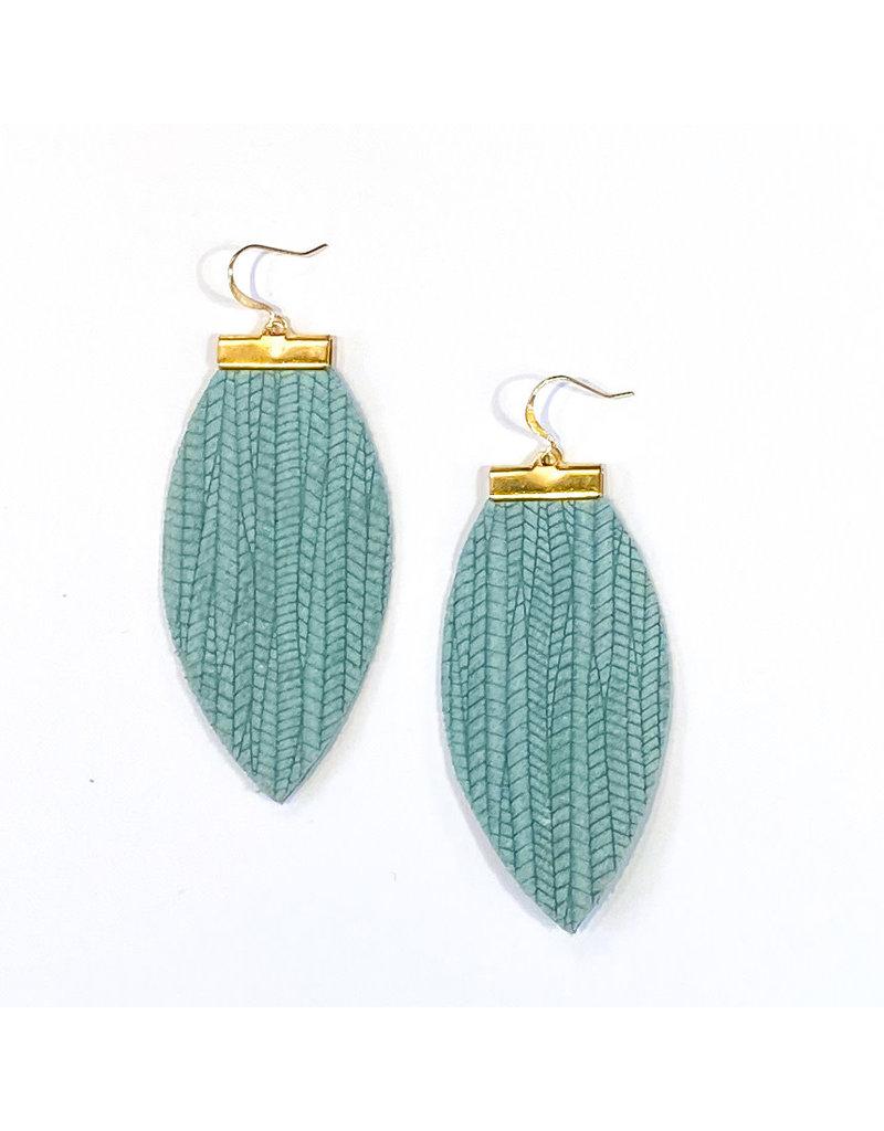 Cecelia Seafoam Embossed Bar Leather Earrings