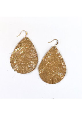 Cecelia Gold Glimmer Cut Leather Earrings