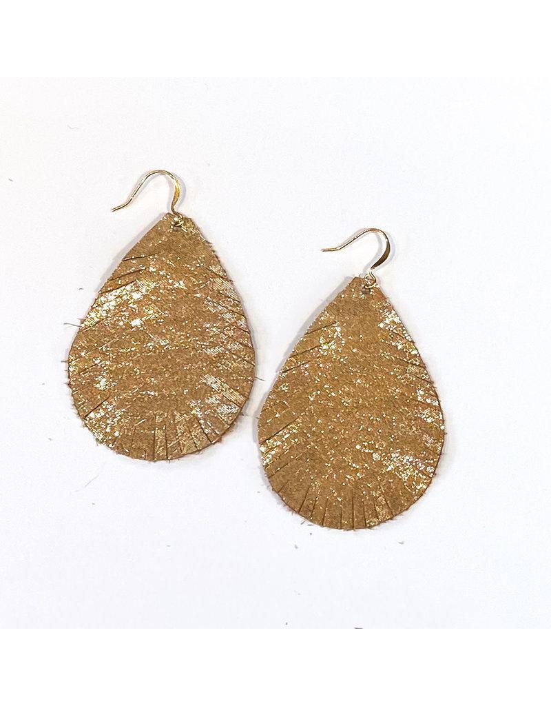 Cecelia Gold Glimmer Cut Leather Earrings