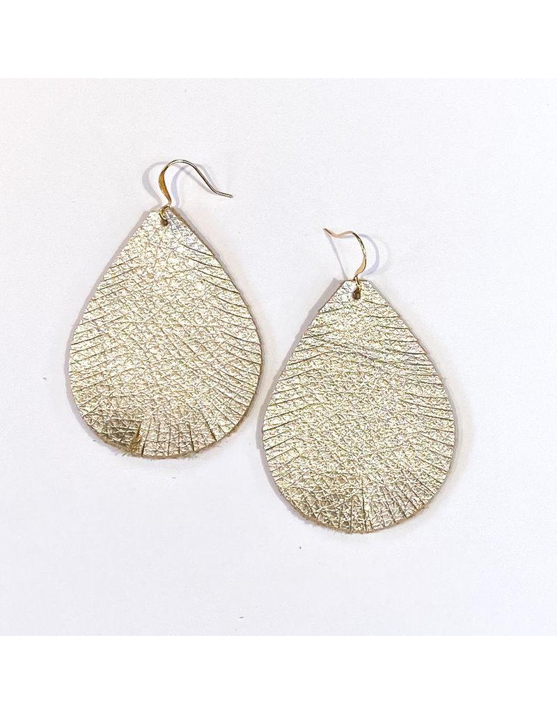 Cecelia Champagne Cut Leather Earring