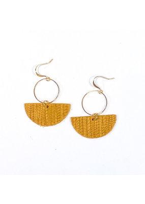 Cecelia Embossed Mustard Geometric Leather Earrings