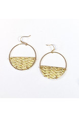 Cecelia Gold Braided Half Moon Leather Earrings